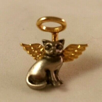 silver and gold tone angel kitty cat pin brooch