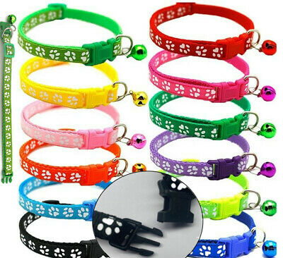 Cat / Kitten / Puppy Paw Print Adjustable Nylon Collar With Snap Buckle And Bell