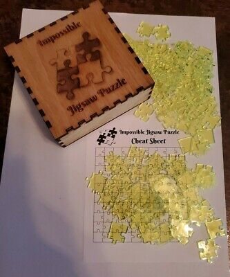 Clear NEON GREEN Acrylic IMPOSSIBLE JIGSAW PUZZLE 100 Pieces with wood box