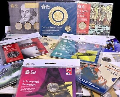 Various Royal Mint Brilliant Uncirculated Commemorative Coin Packs £5 £2 £1 50P