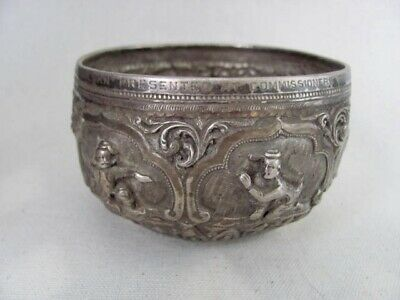 Antique Burmese Repoussed Silver Cup / Bowl / Container from Myanmar dated 1916