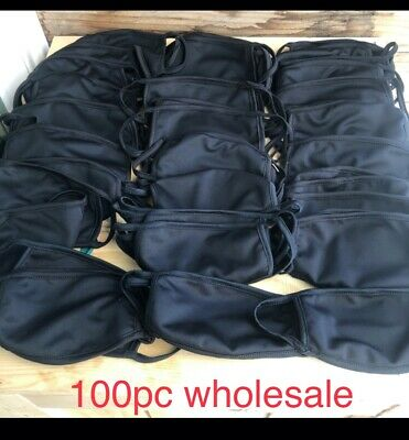 Lot Of 100 Plain Black Triple Layer Washable Facemask Wholesale Pricing