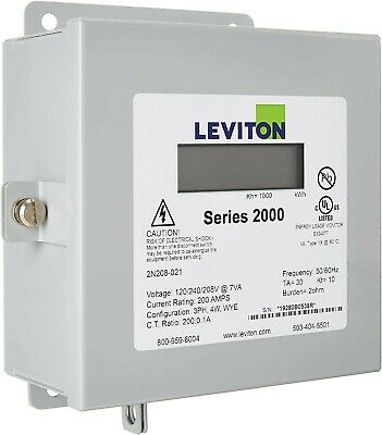 Leviton 1K240-2W Series 1000 120//240V 200A 1P3W Indoor Kit with 2 Split Core CTs