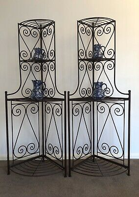 "Vintage Industrial Hand Forged Wrought Iron Corner Display Stands ""Pair"""