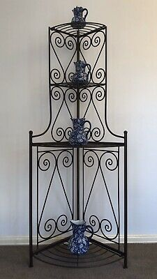 Vintage Industrial Hand Forged Wrought Iron Corner Display Stand With Scrolls