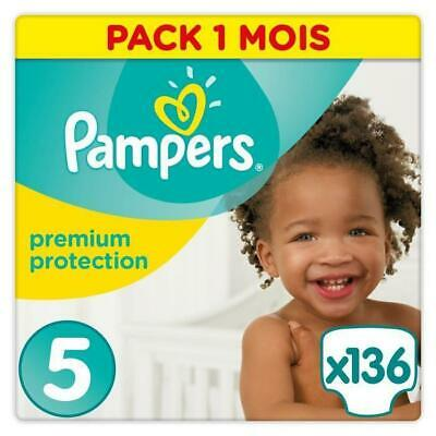 PAMPERS Premium Protection Taille 5 11-23kg - 136 Couches. Pack 1 Mois