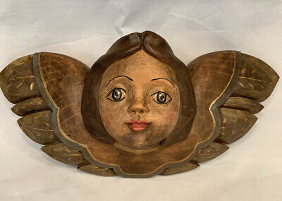 VINTAGE Hand Carved & Painted Wood Folk Art Wall Angel Cherub