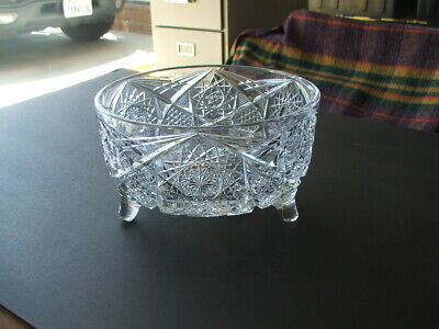 "HEAVY 7 3/4"" Wide by 4 1/2"" High CUT GLASS BOWL .. Nice!"