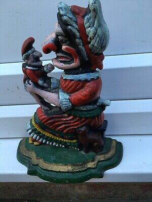 Vintage Hand Painted Punch and Judy cast iron doorstops