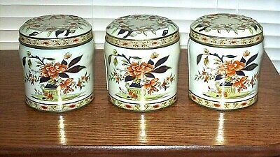 3 Vintage Daher Round Tea Tins w/ Flowers & Gold Accents - Made in England Tin