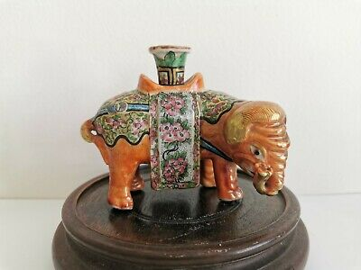 19C antique Chinese Qing dynasty Famille rose porcelain Elephant incense stand