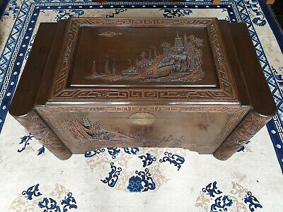 Camphor Wood Chest - Hand Carved, Blanket Box, Storage Box, Multi Level Lid