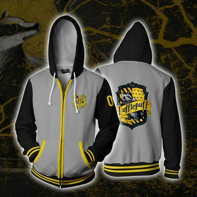 New HARRY POTTER HOGWARTS Hoodie Cosplay Hufflepuff Hooded Sweatshirt Coat