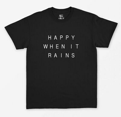 Solid Color Ladies T-Shirt Happy When It Rains Round Neck Casual Cotton Cute Tee