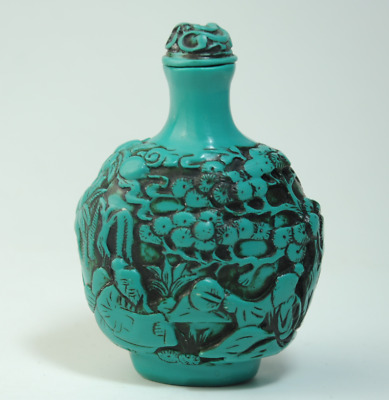 Collectable Old Turquoise Hand Carve ancients statue Delicate Snuff Bottle /Aa01