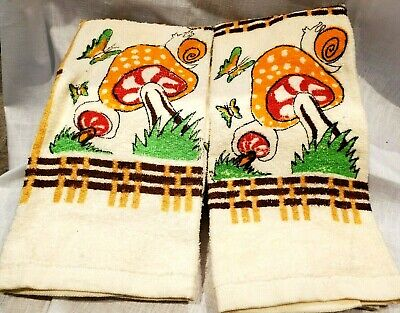 Mushroom Towels Kitchen Pair Snail Butterfly 100% Cotton VTG Brown Org Red Grn