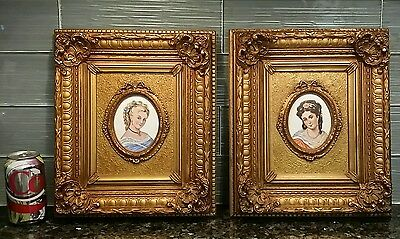 Antique Limoges CAMEO Victorian Lady Portrait Hand Painted Wood Gilded Framed x2
