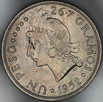 1952 Dominican Republic Un Peso Uncirculated Cleaned - 20K Mintage (1676)