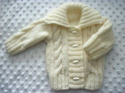 Hand Knitted Baby Aran Cardigan-Size 0-3Mths-Cream