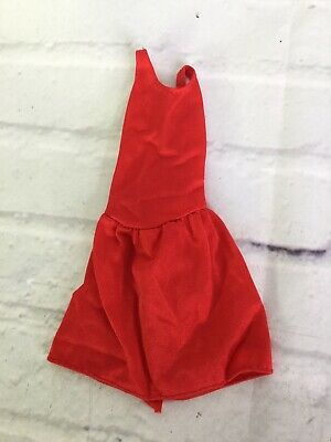 Vintage Mattel Doll Clothing Genuine Barbie Fashion Solid Red Party Tank Dress