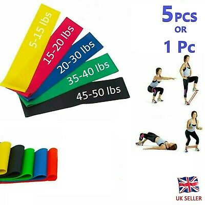 Resistance Loop Bands for Exercise Sports Fitness Home Gym Yoga 1 or 5 Pcs - UK