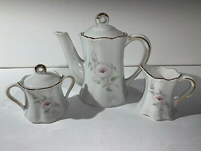 Vintage Windrose Collection Teapot Sugar And Cream Pitcher Mini Set