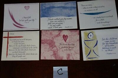 Calligraphy Cards By Anne Kertz Kernion Pack of 6 Assorted Spiritual Cards New C