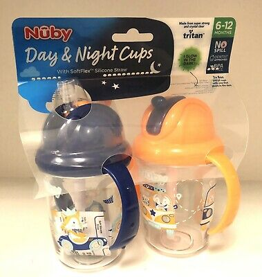 Nuby Day and Night Cups Silicone Straw 6-12 months Twin Pack - Blue /Orange Glow