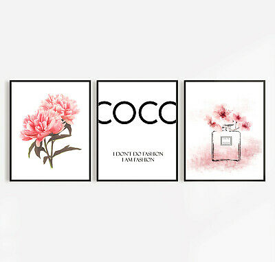 Designer I Don't Do Fashion House Peony Set Of 3 Wall Art Pictures Print