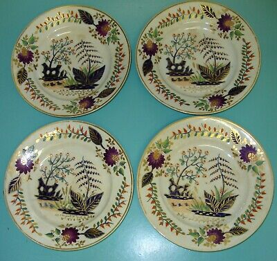 4 RARE Antique 1810 Bloor Royal crown Derby Imari Hand painted plate bowls gilt