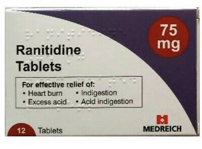 Ranitidine 75mg 12 Tablets x 2 for heartburn/indigestion (same as Zantac)