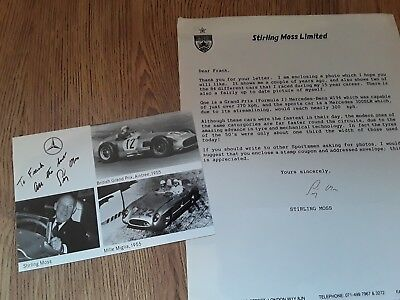 Stirling Moss hand signed photograph card and letter