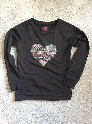 Girls Black Sequin Heart Lightweight Sweatshirt Jumper Top Age 9 Years