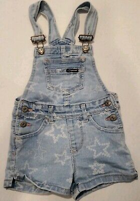 JORDACHE VTG Toddler Girls Denim Overalls Shorts Star Pattern 4T
