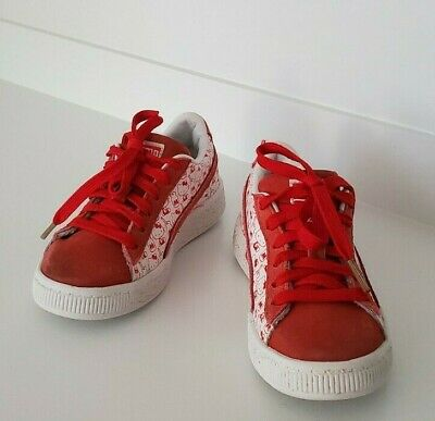 EUC Puma Hello Kitty Lace-up Sneakers, Red, Suede, Size Girls 12