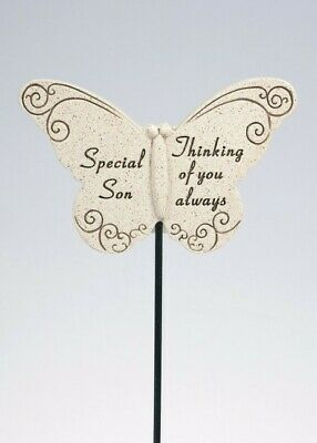Son Butterfly Stick - Memorial Tribute Spike- Remembrance Stake Plaque