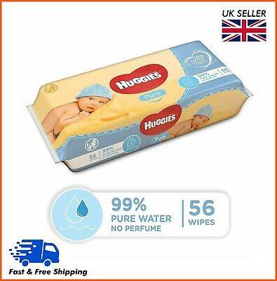 Huggies Baby Wet Wipes Pure 56's - Pack of 1, 2, 3, 4, 5, 6 & 10 - 99% Water