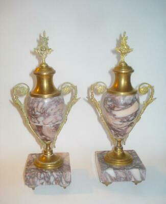 Pair Antique French Gilt Bronze Ormolu & Pink Marble Mantel Vases Neo-Classical