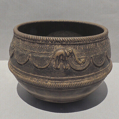 an antique old bronze decorated volume measure bowl tibet nepal
