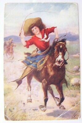 Vintage Postcard Cowgirl Riding on the Range..