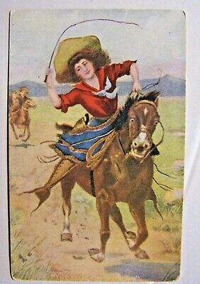 Vintage Early Postcard Cowgirl Riding on the Range..