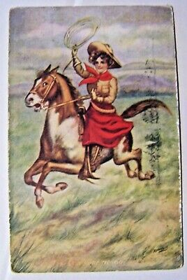 Vintage Postcard 1910 Cowgirl Riding on the Range..