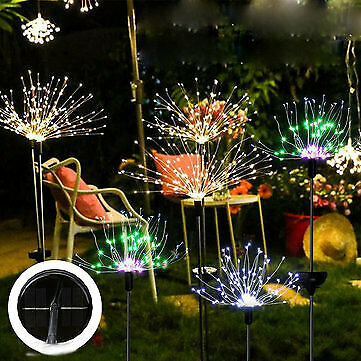 Solar Firework String Light 150 LED White Color July 4th Outdoor Decoration