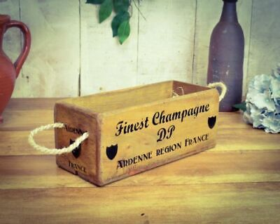 Vintage antiqued wooden box, crate, trug, SMALL BOX, FINEST CHAMPAGNE