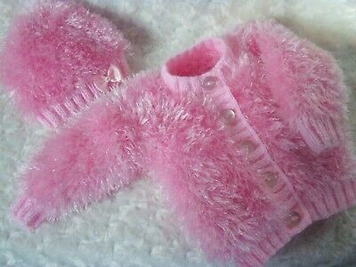Hand Knitted Baby Cardigan & Hat Set-Eskimo Dk-Size 0/3Mths-Colour Pink
