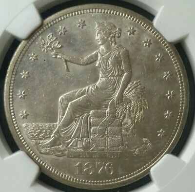 1876 S $1 Silver Trade Dollar NGC UNC Details