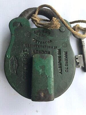 Antique Chubbs Green Detector Brass Fish Mark Padlock London No 1651730