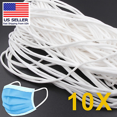 10 Yard 3mm Round Elastic Band Cord Thread White Ear Crafts DIY Face Mask