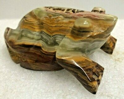 Hand Carved Polished Stone Marble Frog Toad Figurine - Used