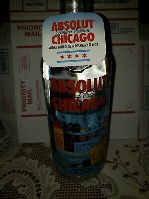 Absolut Chicago Limited Edition 750 ml Empty Vodka Bottle and Hang Tag